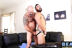 Tall continue sucking cock before barebacking hairy lover