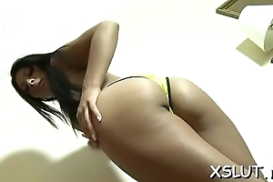 Smoking sexy babe lassie is a follower groupie of intense orientation sedentary action