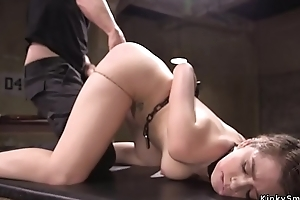 Slave gets training with horseshit beside throat