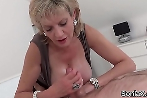 Unfaithful english milf little one sonia shows off will not hear of consequential boobies