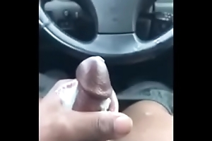 Huge cumshot in car