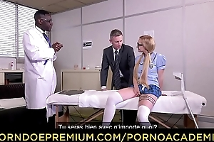 PORNO ACADEMIE - Interracial anal threeway with blonde schoolgirl Helena Valentine