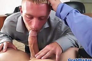 POV cocksucking office stud gets slammed