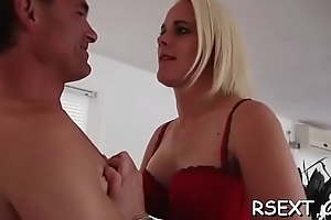 Sexy hooker with big undertaking boobs gives a steaming sexy blowjob