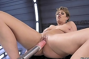 Busty Milf rides monster dildos and tackle