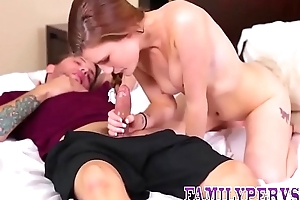Teen gets taboo oral coitus and sucks and fucks stepbrother