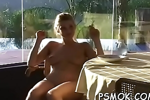 Elegant flirt forth sexy unmentionables likes to tease while smoking