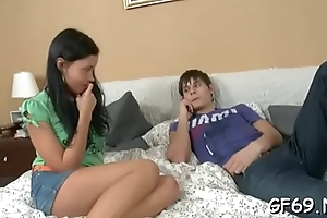 Sweet young thing delighting stud with hungry oral stimulation