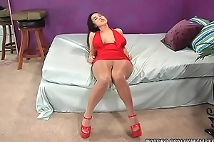 Red duds with an increment of pantyhose