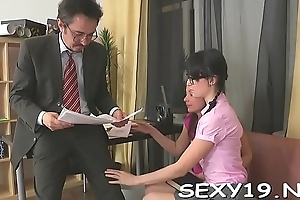 Explicit is delighting mature teacher with her chaste beaver