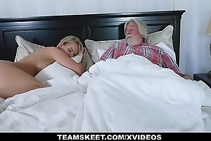 Familystrokes - morose white wrought up white BBC slut copulates her stepson
