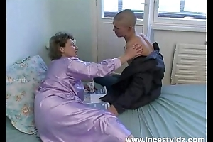 Bald youthful cohort copulates his granny