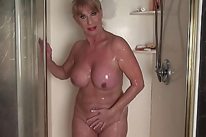 Full-grown woman in the shower