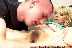 Amateur older granny acquires messy crack licked