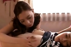 Asian Girl Handcuffed Getting The brush Tits Rubbed Nipples Pinched On The Periphery In