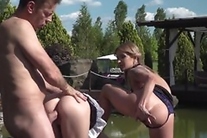Rocco hardcore near pool with two girls