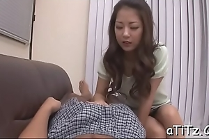 Overzealous pussy toying increased by blowjob for big whoppers asian